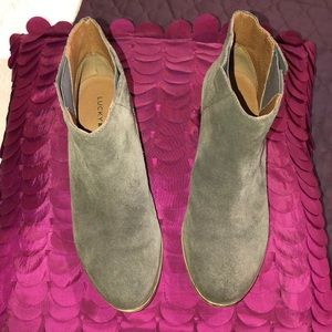 Lucky brand booties gray suede leather